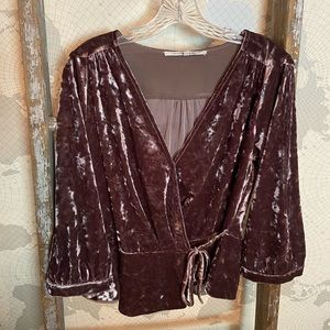 Collective Concepts Crushed Velvet blouse L EUC